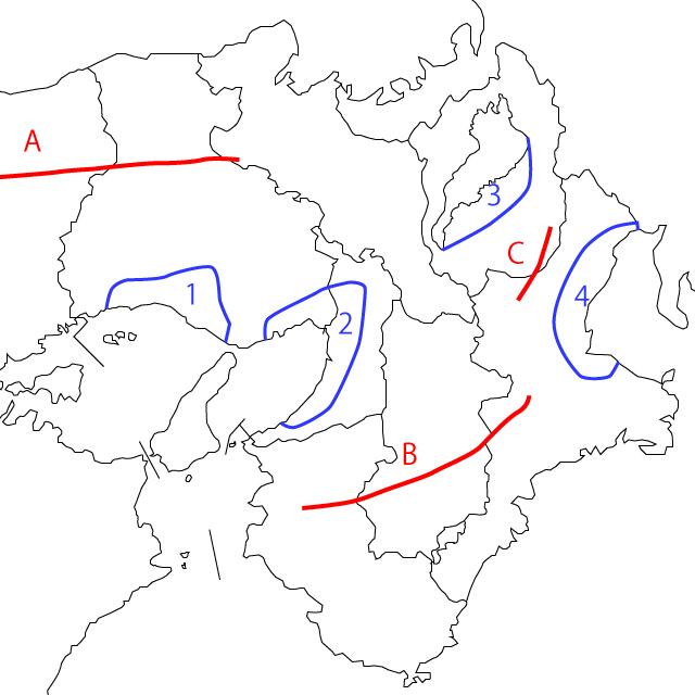 近畿山地山脈盆地の地図